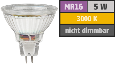"LED-Strahler McShine ""MCOB"" MR16, 5W, 400 lm, warmweiß"
