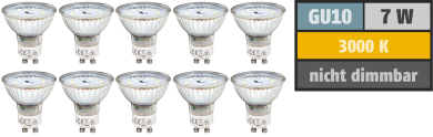 "LED-Strahler McShine ""SP70-10"", GU10, 7W, 470 lm, warmweiß, 10er-Pack"