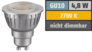 "LED-Strahler ""Silverforce"", GU10, 4,8W, 300 lm, 60°, warmweiß"