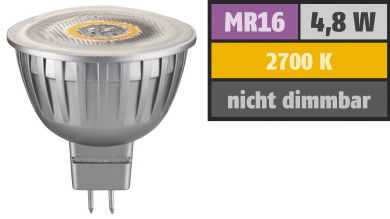 "LED-Strahler ""Silverforce"", MR16, 4,8W, 300 lm, 100°, warmweiß"