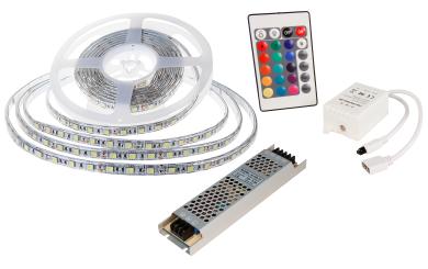 LED-Stripe SET 60LED/m, RGB, 10,8W/m, RGB, 5m, IP65, Cotroller, 100W Trafo