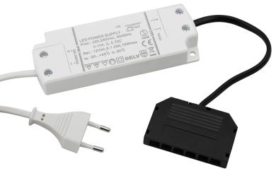LED-Trafo, 0,5-15W, mit Mini AMP-Verteiler, mit Zuleitung und Euro-Stecker