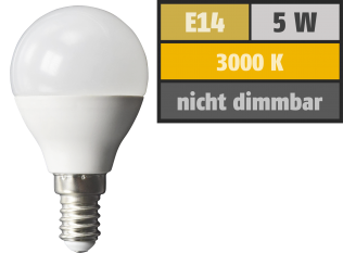 LED-Tropfenlampe McShine, E14, 5W, 380 lm, 3000K, warmweiß