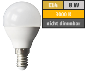 LED Tropfenlampe McShine, E14, 8W, 600lm, 160°, 3000K, warmweiß, Ø45x88mm