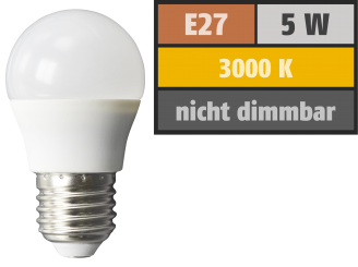 LED Tropfenlampe McShine, E27, 5W, 380 lm, 3000K, warmweiß