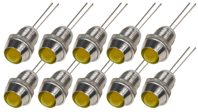 LED mit Chromfassung 6mm, 10er Set,  Gelb