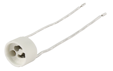 Lampenfassung, GU10, rund, für Hochvoltlampen, 11 cm Kabel, max. 250V / 100W