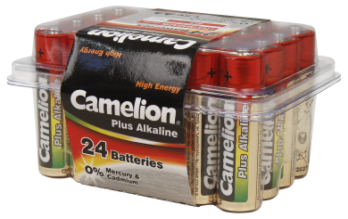 "Mignon-Batterie CAMELION ""Plus Alkaline"" 1,5 V, Typ AA/LR6, 24er-Haushaltspack"