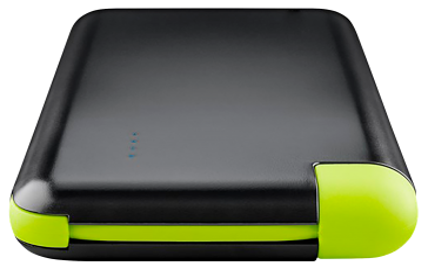Powerbank Slim 8.000 mAh, schwarz, mit integrierten Anschlusskabel