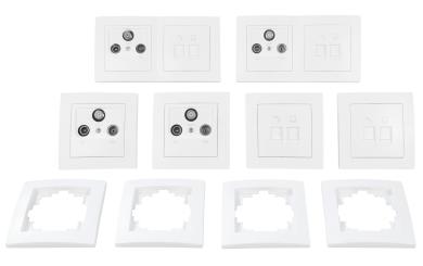 """Schalter und Steckdosen Set McPower Flair """"Multimedia"""", 18-teilig, weiß"""