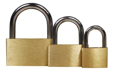 Schlösserset 3-teilig, 20 mm, 30 mm, 40 mm, mit je 3 Schlüsseln