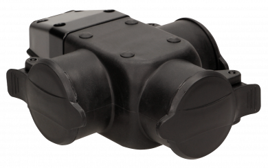 Schutzkontakt-Kupplung 3fach, IP44, schwarz, 16A