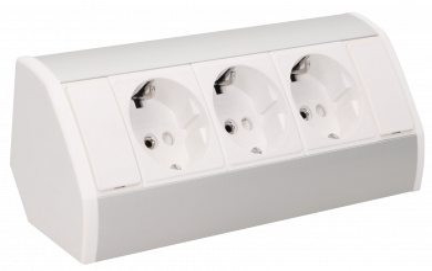 Steckdosenblock Aufbau, silber-weiß, 3fach, 3680W, 0,6m Anschlusskabel