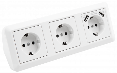 "Steckdosenblock McPower ""Cup"" Aufbau, weiß, 3-fach Schutzkontakt + USB"