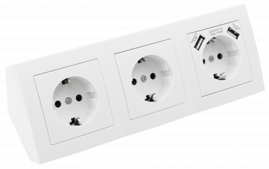 "Steckdosenblock McPower ""Flair"" Aufbau, weiß, 3-fach Schutzkontakt + USB"