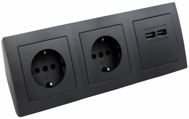 "Steckdosenblock McPower ""Flair"" anthrazit, 2-fach Schutzkontakt + 2x USB"