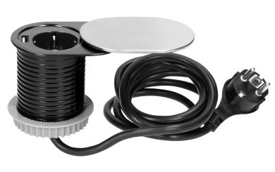 Tisch-Einbausteckdose Ø6cm, 1fach Steckdose,1 USB 2,4A, silber-schwarz