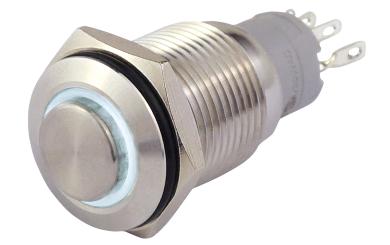 Vollmetallschalter mit Ringbeleuchtung, weiß, 16mm-Ø, 250V, 3A, Lötanschluss