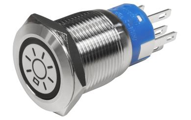 Vollmetalltaster mit Lichtsymbol, LED Beleuchtung weiss, 12V, 19mm