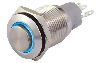 Vollmetalltaster mit Ringbeleuchtung, blau, 16mm-Ø, 250V, 3A, Lötanschluss
