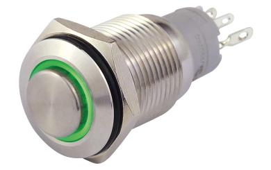Vollmetalltaster mit Ringbeleuchtung, grün, 16mm-Ø, 250V, 3A, Lötanschluss