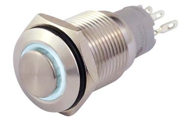 Vollmetalltaster mit Ringbeleuchtung, weiss, 16mm-Ø, 250V, 3A, Lötanschluss