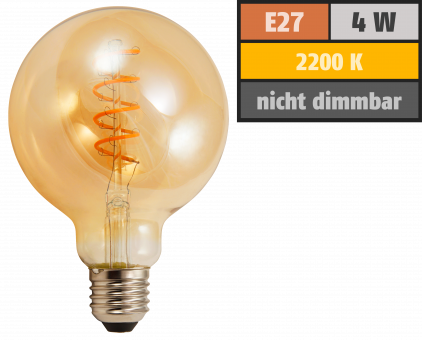 "LED Filament Globelampe McShine ""Retro"" E27, 4W, 280lm, warmweiß, goldenes Glas"