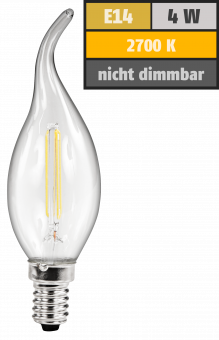 LED Filament Kerzenlampe Windstoß McShine, E14, 4W, 470lm, warmweiß, klar