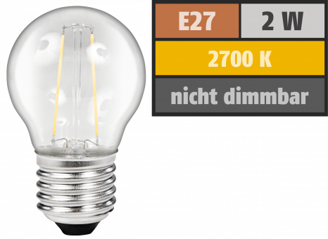 "LED Filament Tropfenlampe McShine ""Filed"", E27, 2W, 200Lm, warmweiß, klar"