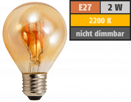 "LED Filament Tropfenlampe McShine ""Retro"" E27, 2W, 150lm, warmweiß,goldenes Glas"