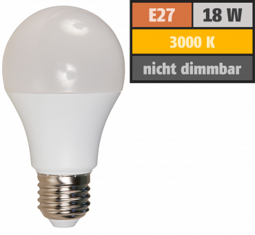 LED Glühlampe, E27, 18W, 1800lm, 200°, 3000K, warmweiß, Ø60x139mm