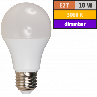 LED Glühlampe McShine, E27, 10W, 800lm, 240°, 3000K, warmweiß, dimmbar