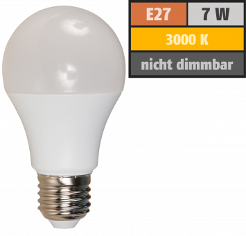 LED Glühlampe McShine, E27, 7W, 650lm, 240°, 3000K, warmweiß, Ø60x109mm