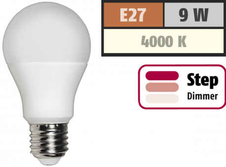 LED Glühlampe McShine, E27, 9W, 810 lm, 4000K, neutralweiß, step dimmbar 100/50/10%