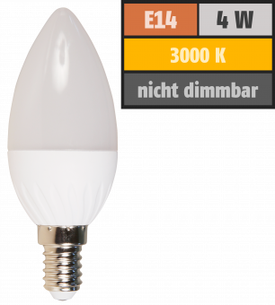 LED Kerzenlampe McShine, E14, 4W, 320lm, 160°, 3000K, warmweiß, Ø37x98mm