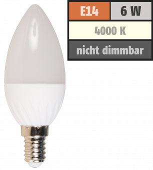 LED Kerzenlampe McShine, E14, 6W, 480lm, 160°, 4000K, neutralweiß, Ø37x98mm