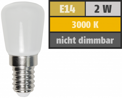 LED Kolbenlampe McShine, E14, 2W, 160lm, 260°, 23x51mm, warmweiß