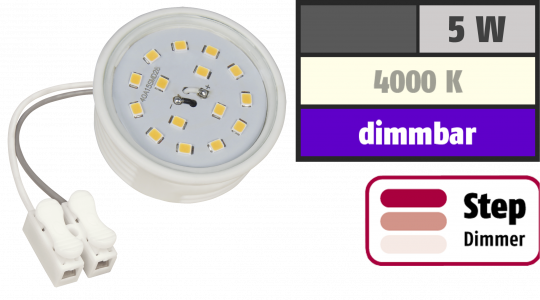 LED-Modul McShine, 5W, 400 Lumen, 230V, 50x23mm, neutralweiß, 4000K, step-dimmbar