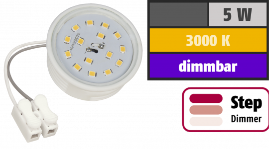 LED-Modul McShine, 5W, 400 Lumen, 230V, 50x23mm, warmweiß, 3000K, step-dimmbar