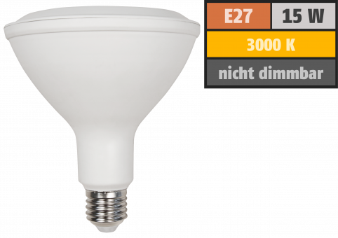 LED-Strahler McShine, E27, PAR38, 15W, 1.200 lm, 45°, 3000K, warmweiß