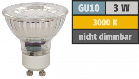 "LED-Strahler McShine ""MCOB"" GU10, 3W, 250 lm, warmweiß"