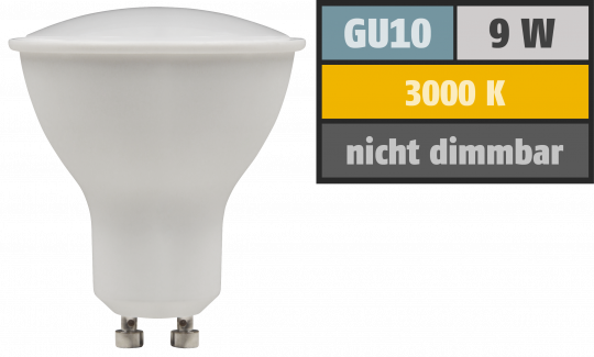 "LED-Strahler McShine ""PV-90"" GU10, 9W, 900lm, 120°, 3000K, warmweiß"
