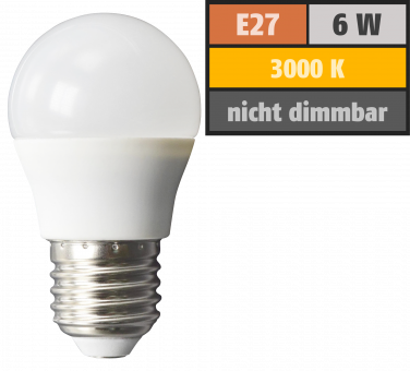LED Tropfenlampe McShine, E27, 6W, 480lm, 160°, 3000K, warmweiß, Ø45x78mm