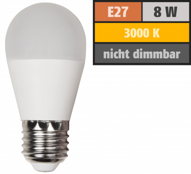 LED Tropfenlampe McShine, E27, 8W, 600lm, 160°, 3000K, warmweiß, Ø45x88mm