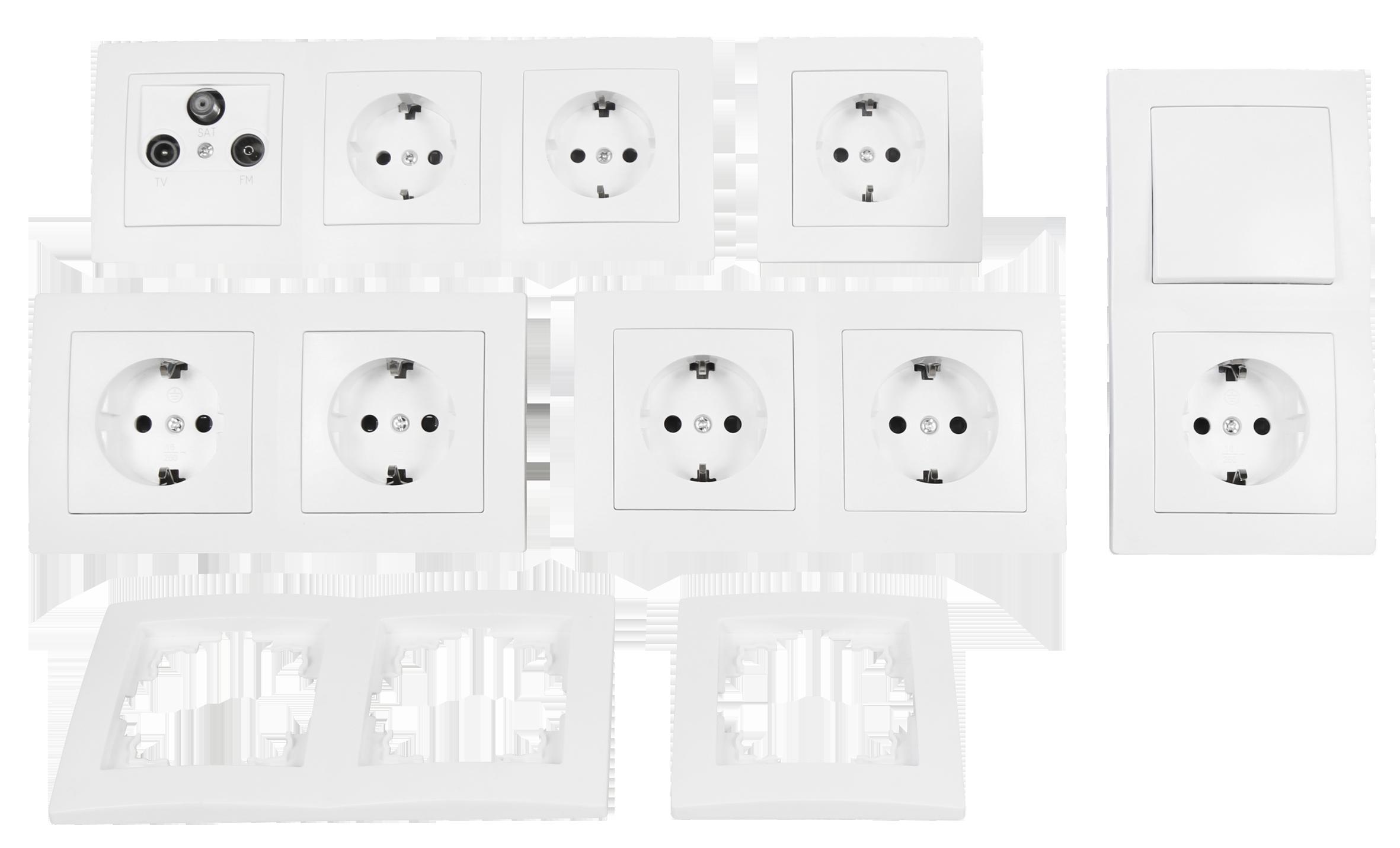 schalter und steckdosen set flair arbeitszimmer 17 teilig wei ett der elektronik und. Black Bedroom Furniture Sets. Home Design Ideas