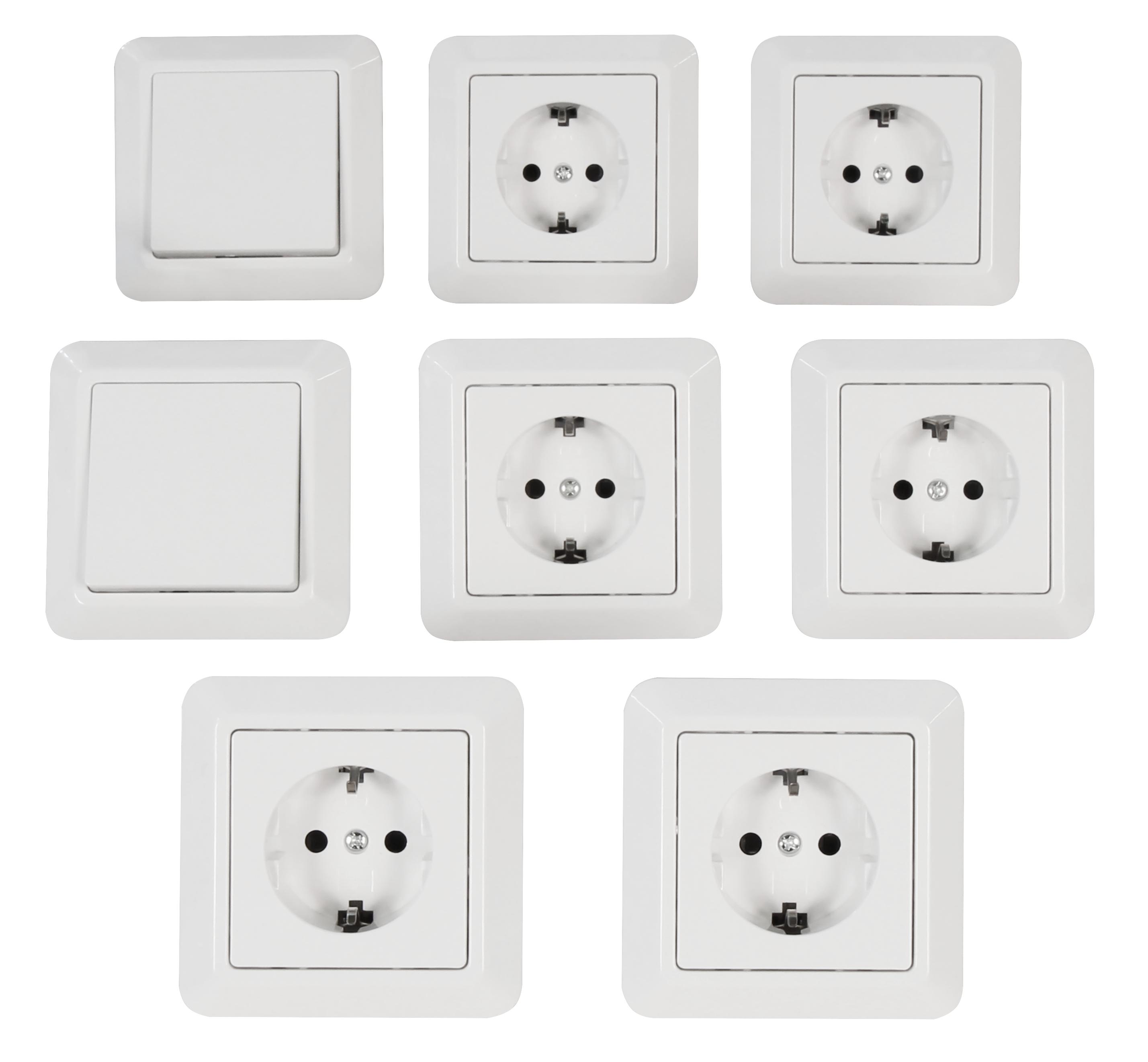 Schalter /& Steckdosenset weiss Einsteiger 16 teilig Steckdosen Schalter Rahmen